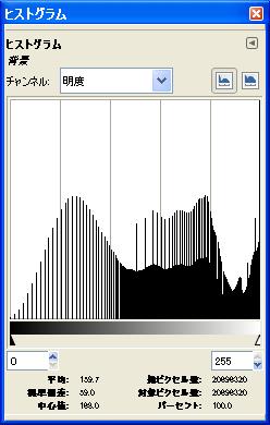 8bit JPEG トーンカーブ ヒストグラム